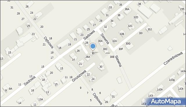Skorzewo, Sadowa, 30, mapa Skorzewo