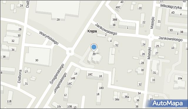 Ostrów Wielkopolski, Śmigielskiego Walentego, ks., 20, mapa Ostrów Wielkopolski