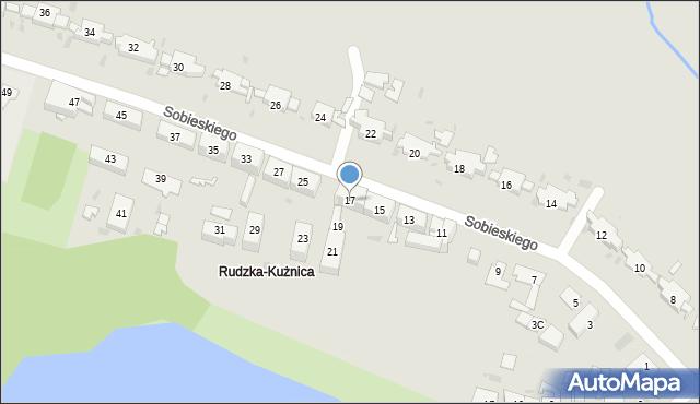 Ruda Śląska, Sobieskiego, 17, mapa Rudy Śląskiej