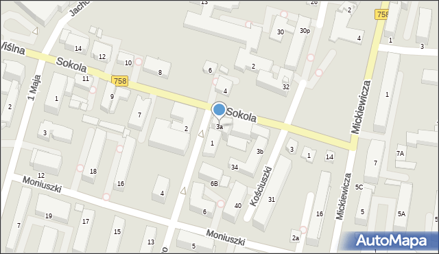 Tarnobrzeg, Sokola, 3a, mapa Tarnobrzegu