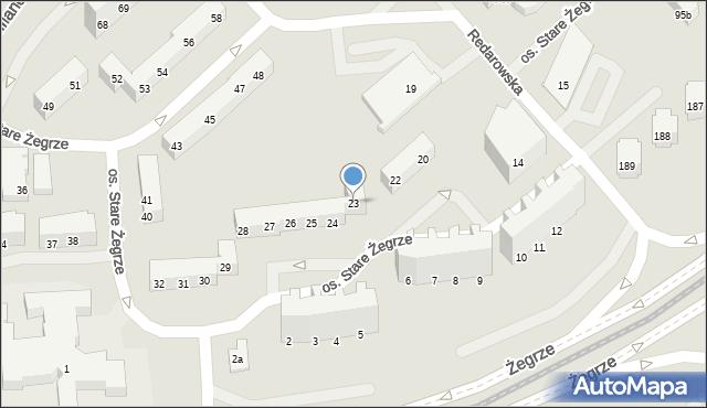Poznań, Stare Żegrze, 23, mapa Poznania