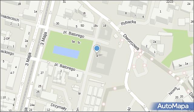 Szczecin, Stefana Batorego, pl., 4, mapa Szczecina