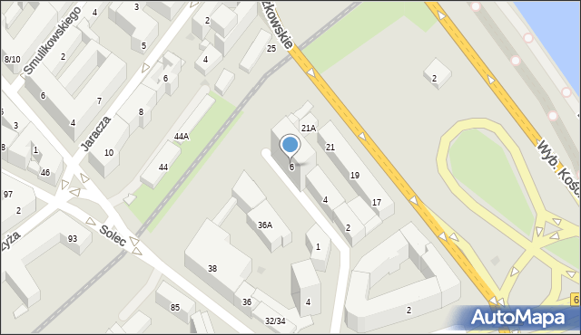 Warszawa, św. Salezego Franciszka, 6, mapa Warszawy