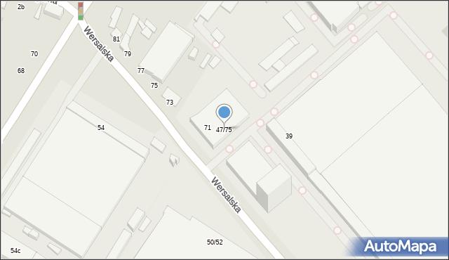 Łódź, Wersalska, 47/75, mapa Łodzi
