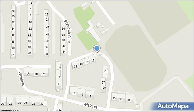 Gliwice, Wiślana, 21, mapa Gliwic