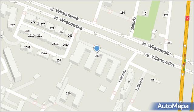 Warszawa, Wilanowska, 257, mapa Warszawy