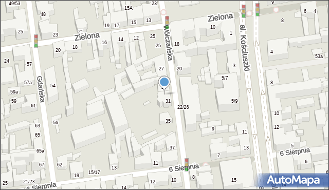 Łódź, Wólczańska, 33, mapa Łodzi