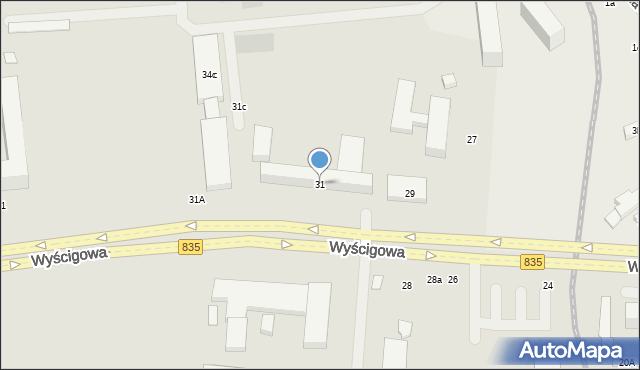 Lublin, Wyścigowa, 31, mapa Lublina