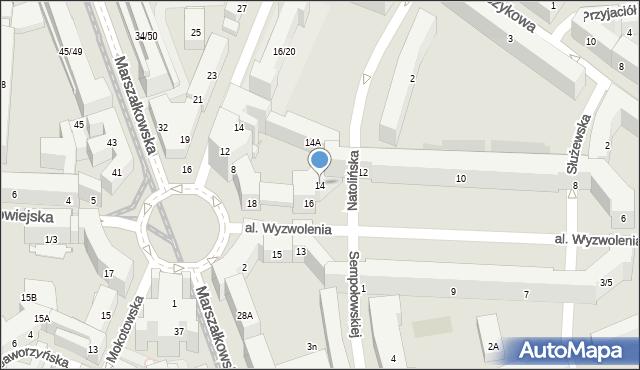 Warszawa, Wyzwolenia, al., 14, mapa Warszawy