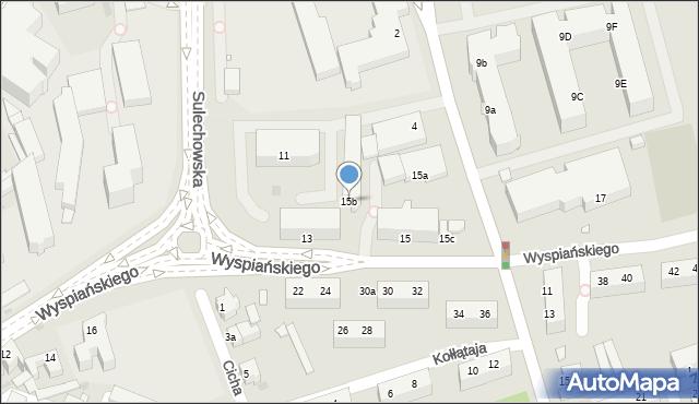 Zielona Góra, Wyspiańskiego Stanisława, 15b, mapa Zielona Góra