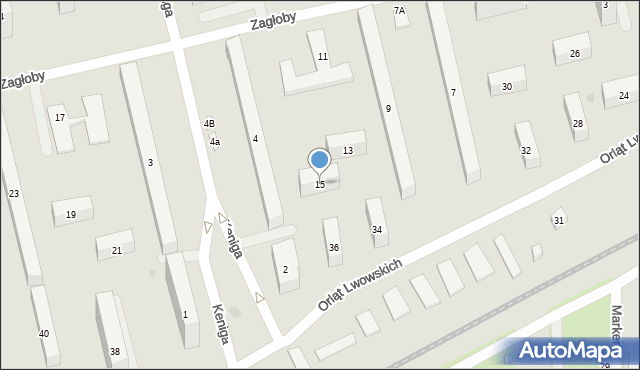 Warszawa, Zagłoby Jana Onufrego, 15, mapa Warszawy