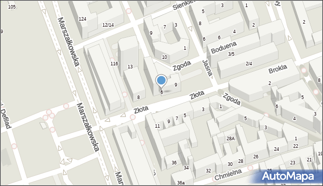 Warszawa, Złota, 6, mapa Warszawy
