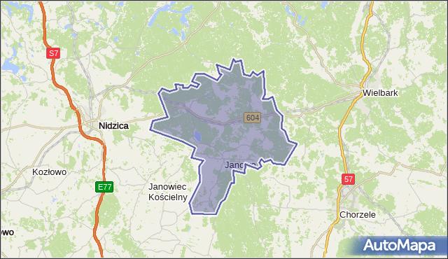 gmina Janowo - powiat nidzicki na mapie Targeo