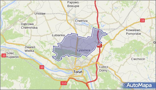 gmina Łysomice - powiat toruński na mapie Targeo