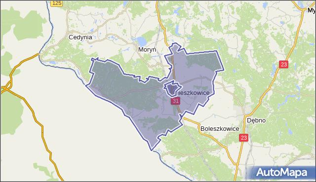 gmina Mieszkowice - powiat gryfiński na mapie Targeo