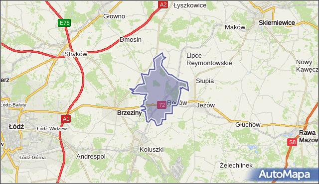 gmina Rogów - powiat brzeziński na mapie Targeo