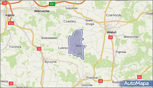 Mapa Polski Targeo, gmina Skomlin - powiat wieluński na mapie Targeo