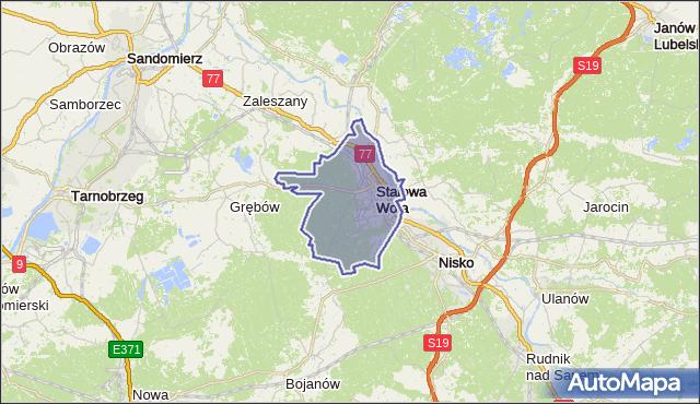 gmina Stalowa Wola - powiat stalowowolski na mapie Targeo