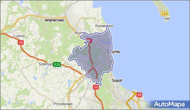 powiat Gdynia - województwo pomorskie na mapie Targeo