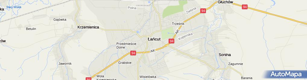 Zdjęcie satelitarne Lancut kosciol farny p