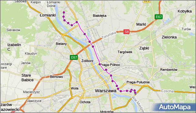 Autobus 509 - trasa GOCŁAW - NOWODWORY. ZTM Warszawa na mapie Targeo