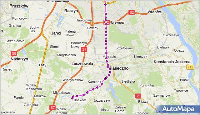 Autobus 727 - trasa METRO WILANOWSKA - GŁOSKÓW-SZKOŁA GS. ZTM Warszawa na mapie Targeo