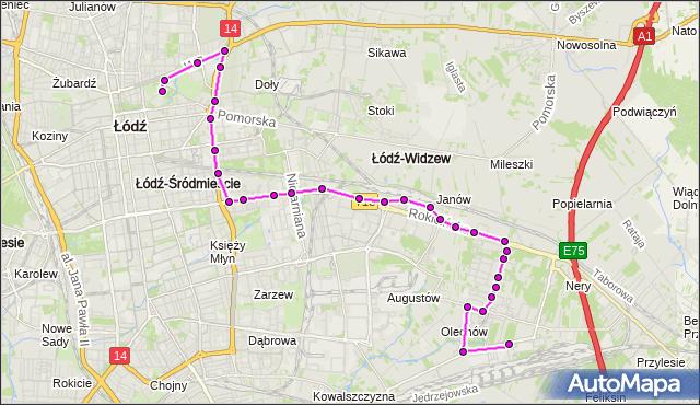 Autobus 85 - trasa Dell - Dworzec PKS Północny. MPKLodz na mapie Targeo
