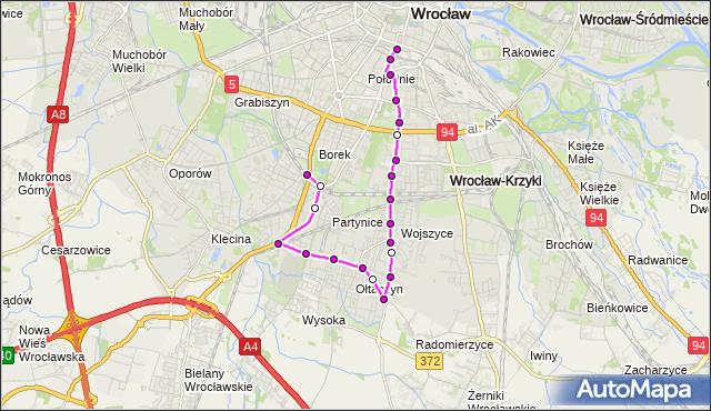 Autobus 113 - trasa DWORZEC GŁ. PKP - KRZYKI. MPKWroclaw na mapie Targeo