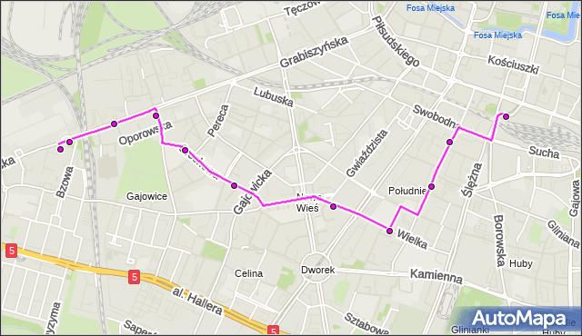 Autobus 113 - trasa Zajezdnia Grabiszyńska - DWORZEC GŁ. PKP. MPKWroclaw na mapie Targeo