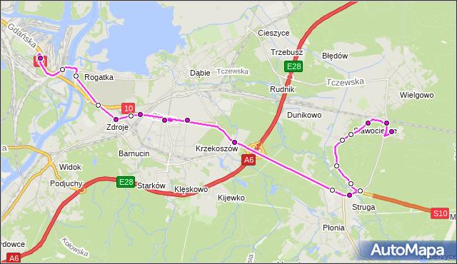 Autobus 73Z - trasa Basen Górniczy - Zdunowo Szpital. ZDiTM Szczecin na mapie Targeo