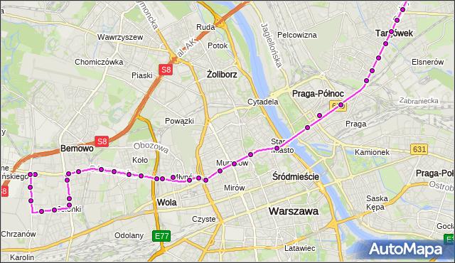 Autobus 190 - trasa OS.GÓRCZEWSKA - CH MARKI MK. ZTM Warszawa na mapie Targeo