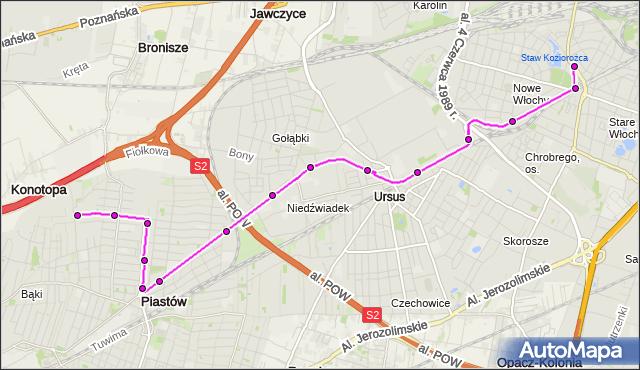 Autobus 716 - trasa WAŁOWICKA - OGIŃSKIEGO PT. ZTM Warszawa na mapie Targeo