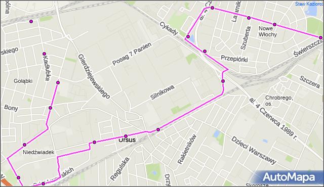 Autobus 194 - trasa PKP GOŁĄBKI - WAŁOWICKA. ZTM Warszawa na mapie Targeo