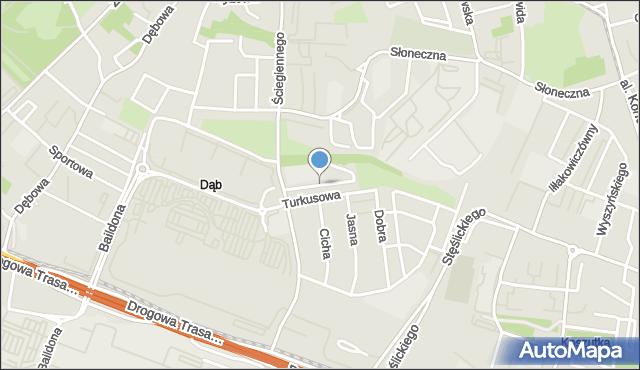 Katowice, Błękitna, mapa Katowic
