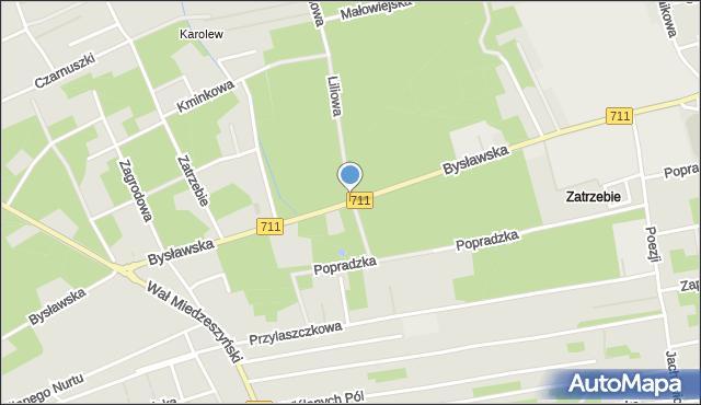 Warszawa, Bysławska, mapa Warszawy