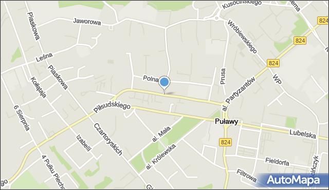 Puławy, Centralna, mapa Puław