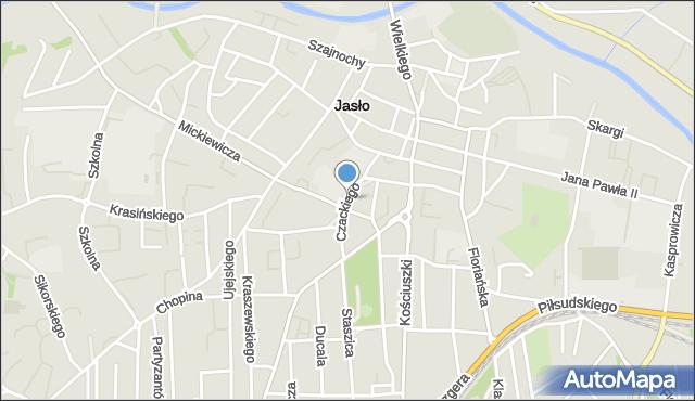 Jasło, Czackiego, mapa Jasła