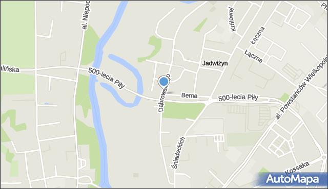 Piła, Dąbrowskiego, mapa Piły