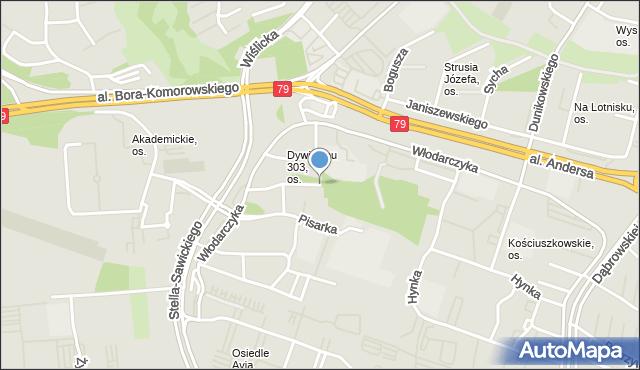 Kraków, Dywizjonu 303, os., mapa Krakowa