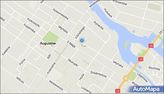 Augustów, Gęsia, mapa Augustów