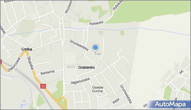 Ustka, Grunwaldzka, mapa Ustka