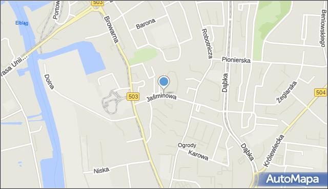 Elbląg, Jaśminowa, mapa Elbląga