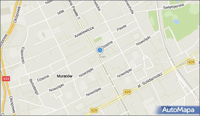 Warszawa, Jana Pawła II, al., mapa Warszawy
