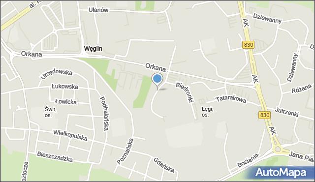 Lublin, Kaczeńcowa, mapa Lublina