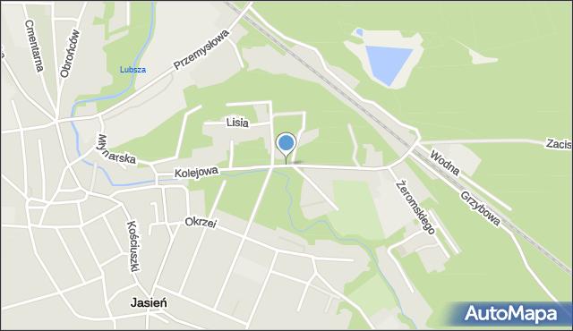 Jasień, Kolejowa, mapa Jasień