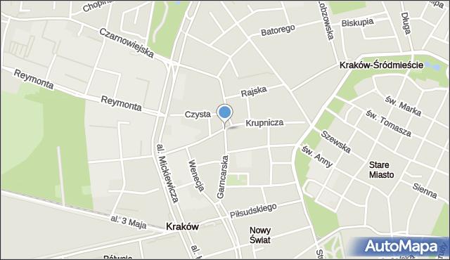 Kraków, Krupnicza, mapa Krakowa