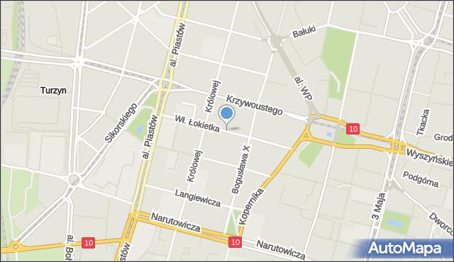 Szczecin, Króla Władysława Łokietka, mapa Szczecina