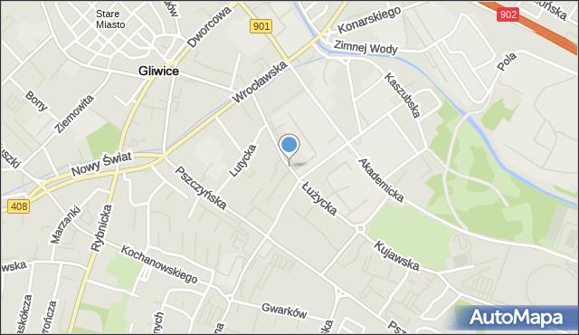Gliwice, Łużycka, mapa Gliwic