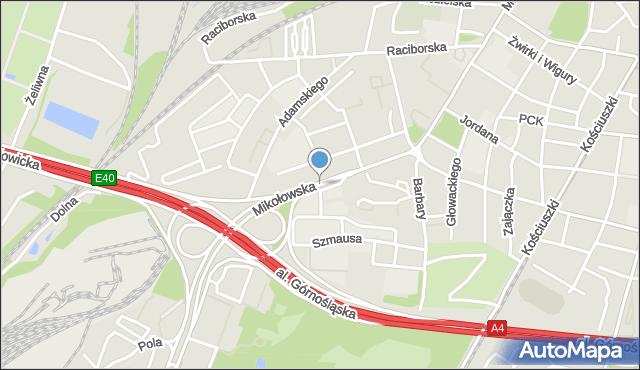 Katowice, Mikołowska, mapa Katowic