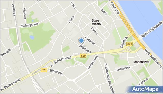 Warszawa, Miodowa, mapa Warszawy